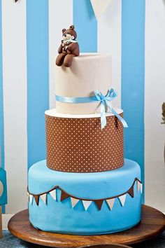 Blue and brown teddy bears Baby Shower Party Ideas | Photo 2 of 24 | Catch My Party