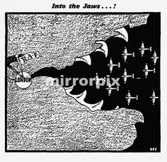 Philip Zec Cartoon Daily Mirror 20th August 1940. Into the Jaws