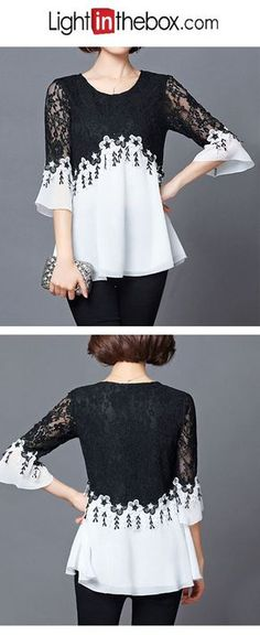 Women's Sexy Street chic Blouse - Color Block, Lace Round Neck - - Women's Sexy Street chic Blouse – Color Block, Lace Round Neck Source by LightInTheBox Pretty Outfits, Cool Outfits, Fashion Outfits, Womens Fashion, Cheap Womens Tops, Sewing Blouses, Virtual Fashion, Holiday Fashion, Holiday Style