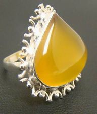 LEMON YELLOW GEMSTONE CABOCHON OPAQUE RING 6.8g STERLING SILVER 925 SIZE 9 21mm
