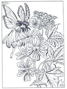 Very Pretty Fairy In A Garden Coloring Page – Coloring Pages For Kids Garden Coloring Pages, Coloring Book Pages, Coloring Pages For Kids, Coloring Sheets, Kids Coloring, Fairy Tea Parties, Kobold, Elves And Fairies, Faux Stained Glass