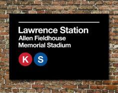 Lawrence Kansas Subway Sign Print (KU)