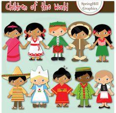 Instant Download Children of the World Digital Clip Art for Card Making, Web…