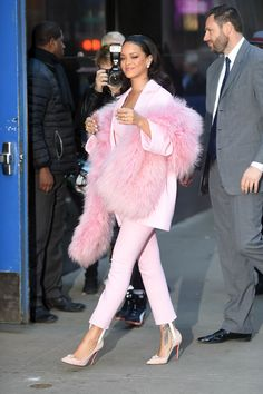Rihanna Rules the Red Carpet - Rihanna Pink Suit-Wmag