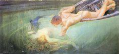 """Giulio Aristide Sartorio - """"Sirena"""" o """"Abisso Verde"""" (replica con lievi varianti) ---> [https://www.pinterest.com/pin/446278644301208498/], 1900 ca, Piacenza, Galleria d'Arte Moderna Ricci Oddi [http://www.riccioddi.it/collezione_opere_arte/00864#]"""