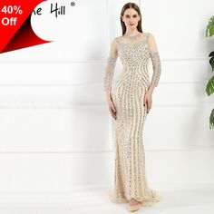 [Only $209.40] Luxury Illusion Back Dubai Mermaid Evening Dresses 2017 Real Picture Crystal Beaded Sequins Long Prom Dress Robe De Soiree