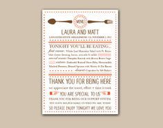 Modern Wedding Menu Designed with Type by TheMemoryTrunk on Etsy, $3.50