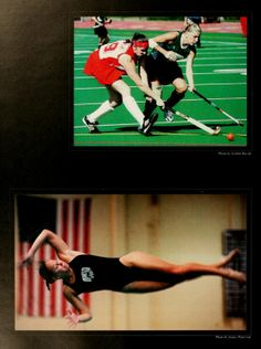 Athena yearbook, 2001. Two field hockey players race to get the ball, as a diver is mid-air during a dive. :: Ohio University Archives