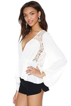 White Peplum Lace  Top