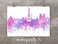 Skyline de PARIS France acuarela original hecho a mano. Pintura de Paris, lámina PARIS. Skyline PARIS voayage, regalo original viaje Paris • Skyline inspirado en la ciudad de Paris. • Diferentes tonalidades de rosa y violeta. • Paris Skyline Blue hues, watercolor, skyliner Paris, France , art print, poster Paris ,gift PARIS, decoration Paris trip, Eiffel Tower. by MARAQUELA WATERCOLOR.