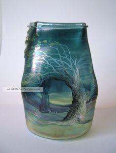 Erwin Eisch Painted Studioglas Vase Mj Unique