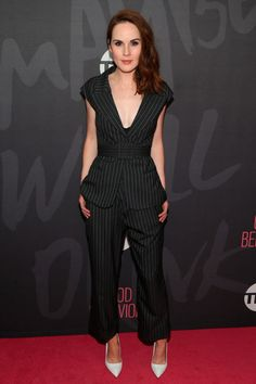 a5bdfa8f69 14 November Michelle Dockery chose chic tailored pinstripes for the New  York premiere of Good Behaviour