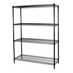 Storage Max Steel Wire Shelving Unity in Black, 4 Shelf, 24 x 48 x 74
