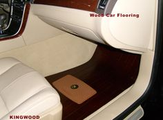 """Kingwood automotive wood flooring """"for a noble experience"""". Also available with embedded diamond crystals """"for accomplished people""""."""