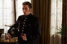 Crabtree (Jonny Harris) arrives at Murdoch and Ogden's suite to inform them that a murder has taken place at their hotel.