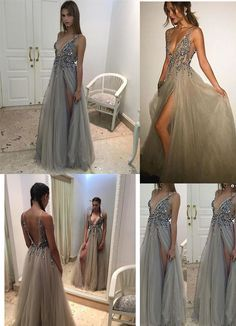 Prom Dress Princess, Unique Prom Dress,Grey Sparkly Beaded Prom Dress with Slit,Sexy Long Formal Dresses Shop ball gown prom dresses and gowns and become a princess on prom night. prom ball gowns in every size, from juniors to plus size. V Neck Prom Dresses, Prom Dresses 2017, Beaded Prom Dress, Dance Dresses, Best Formal Dresses, Unique Prom Dresses, Formal Evening Dresses, Ny Dress, Dress Long