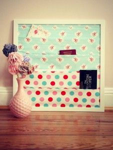 "bulletin board with pockets--- could make ""pleats"" in fabric for pockets"