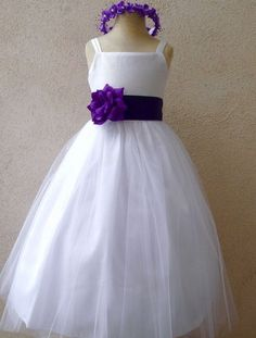 Flower girl dress white wavy bottom dress with purple eggplant flower girl dress white tulle dress double straps with purple eggplant sash mightylinksfo
