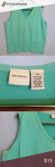 🌸REDUCED 🌸MERONA TURQUOISE SLEEVELESS SWEATER Merona turquoise sleeveless sweater. V-neck with detail on neck and at arm, rubbed waist for flattering fit. EUC, size 2X. Merona Sweaters V-Necks