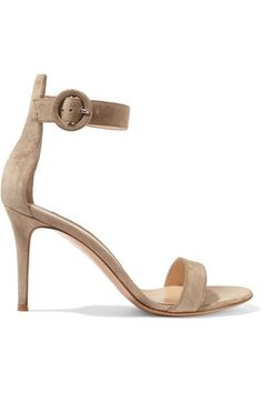 Heel measures approximately 85mm/ 3.5 inches Sand suede Buckle-fastening ankle strap Made in Italy