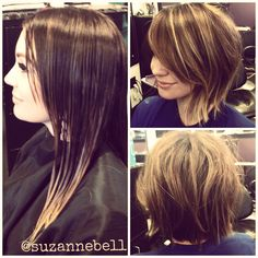 long hair to short messy bob before & after Medium Hair Cuts, Long Hair Cuts, Medium Hair Styles, Short Hair Styles, Thin Hair, Pretty Hairstyles, Bob Hairstyles, Bob Haircuts, Unordentlicher Bob