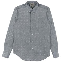 fa304fd04ee Long sleeve shirt in an indigo Japanese chambray with tiny bowties woven  into the fabric.