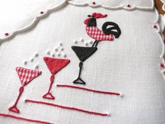 PLAID ROOSTER & BUBBLY TOO Vtg Madeira Hand Embroidery 8 Linen Cocktail Napkins