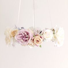 118 Whimsical dove lilac floral chandelier, bird nursery mobile, baby girl dove flower mobile, purple hanging baby mobile, bird crib mobile
