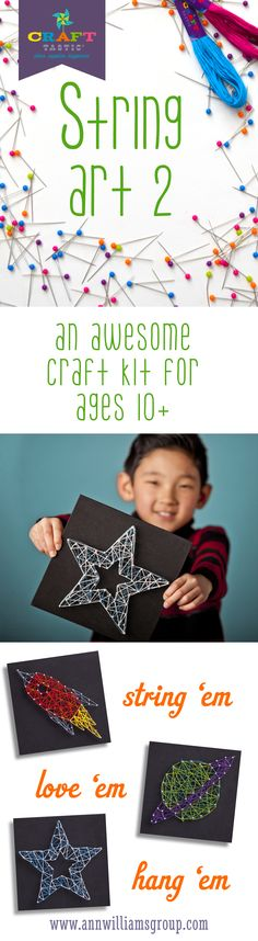 This fun kit goes where no string art has gone before. It's easy, fun, and artsy. Kids simply push pins into our sturdy foam canvases and string away - no hammer or nails required. They can design the