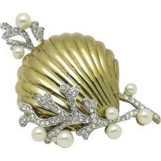 Vintage Gold Plated Large Rhinestone Faux Pearl Seashell Figural Brooch