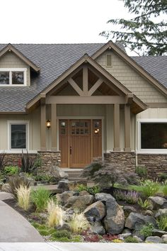 House Halstad Craftsman Ranch House Plan - Green Builder House Plans - Ranch style homes exterior - Craftsman Ranch, Craftsman Style Homes, Ranch Style Homes, Craftsman House Plans, Ranch Homes, Modern Craftsman, Craftsman Decor, Exterior Paint Schemes, House Paint Exterior
