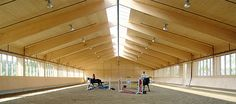 Modern German indoor riding arena using GluLam beams, mirrors on the short ends would make this arena  even more perfect!