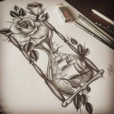 photo realism hourglass shaped tattoo - Google Search