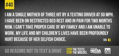 We're counting down the top reasons not to text and drive leading up to Global Youth Traffic Safety Month in May. What's your reason? Texting While Driving, Distracted Driving, Driving School, Dont Text And Drive, Trauma Center, Child Life, Text Messages, Losing Me, Growing Up