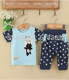 2014 new summer children suit children casual cotton short-sleeved little black two-piece children's clothing wholesale,kid sets $36.99