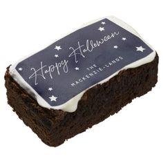 Custom Navy/White Happy Halloween  Stars Brownie Chocolate Liquor, Chocolate Flavors, White Chocolate, Modern Halloween, Happy Halloween, Halloween Brownies, Confectioners Glaze, No Bake Brownies, Party Hacks