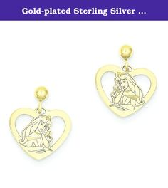 Gold-plated Sterling Silver Disney Aurora Heart Dangle Post Earrings in Sterling Silver. Gold-plated Sterling Silver Disney Aurora Heart Dangle Post Earrings Polished ; Stamped ; Post ; Sterling silver ; Gold-plated ; Dangle ; Sterling Silver Metal.
