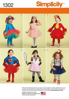 Simplicity Pattern 1302A 1/2 - 1 - 2 - 3 - - Toddler Costume