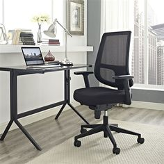 Work in comfort with the Modway Pump Office Chair . Ergonomically designed, this chic office chair features built-in lumbar support, a breathable. Office Chair Cushion, Swivel Office Chair, Mesh Office Chair, Office Chairs, Chair Cushions, Room Chairs, Dining Chairs, Black Home Office Furniture, Black Office Chair