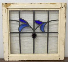 """OLD ENGLISH LEADED STAINED GLASS WINDOW Unique Floral Design 19"""" x 17.5"""""""