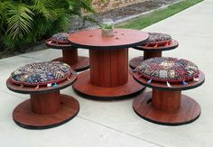 Rustic outdoor setting made from cable reels