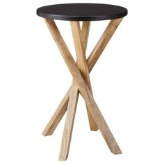 Threshold™ Round Cross-legged Wooden Accent Table - Black and Natural