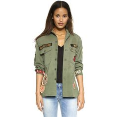 MADEWORN ROCK Rolling Stones 1975 Army Jacket (€400) ❤ liked on Polyvore featuring outerwear, jackets, army green, patch jacket, army green jacket, military jacket, polka dot jacket and green military jacket