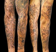 flower sleeve - 80+ Awesome Examples of Full Sleeve Tattoo Ideas  <3 !