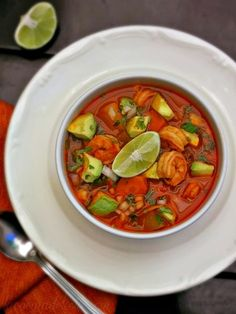 Caldo de Camarón is a Mexican shrimp soup with tender pieces of shrimp, carrot, and chayote in a vibrant and flavorful broth.
