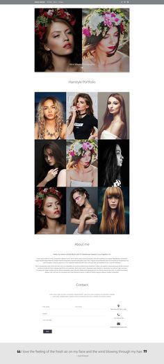 Material Design Haidresser portfolio with wide photos and best artwork showcase.