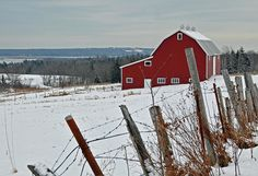 Red barn at Cole Harbour, Nova Scotia, Canada. Photo by Dennis Jarvis Halifax Canada, Dashing Through The Snow, Hill Station, Red Barns, New Brunswick, Winter Art, Land Art, Rustic Charm, Nova Scotia