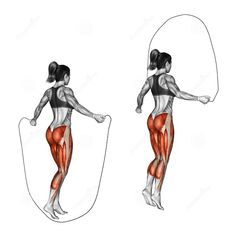 This is why I jump rope ... Look at the muscle group you're working out. 2 min rest between sets 100skips x 3sets for beginners 150skips x 5sets for moderate 200skips x 7sets for advanced