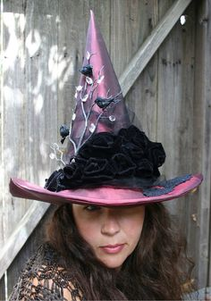 Witch Hat Raven Romance Red Witches Hat by MermaidenCreations, $130.00