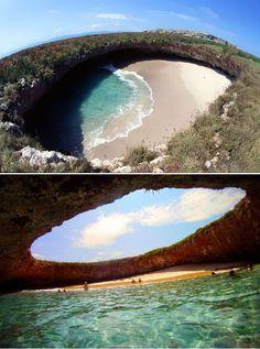 Amazing Hidden Beach on Marieta Islands, Mexico